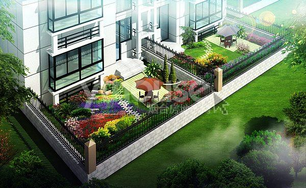 楼前小花园设计效果图