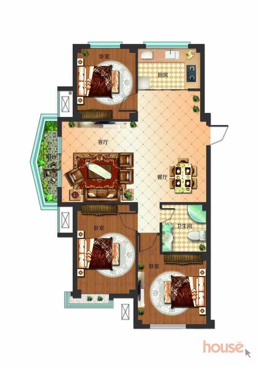 a1户型三室两厅一卫面积93.49-114.67㎡(17#)