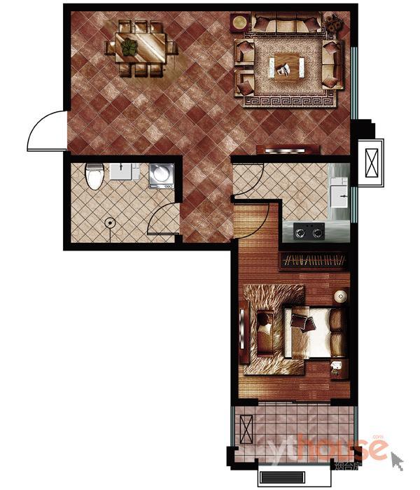 17E一室一厅一卫建面75.29�O (建面)