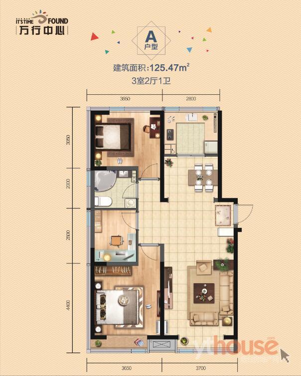 A户型 建筑面积:125.47�O (建面)