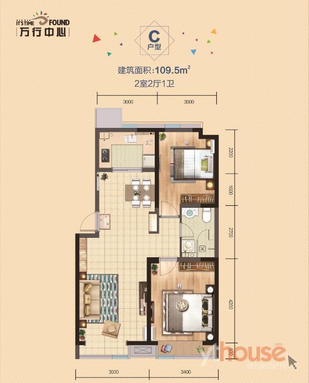 精装C户型 建筑面积:109.5�O (建面)