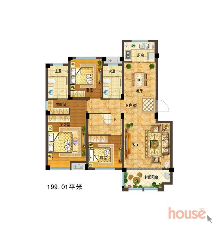 B户型199.01�O 七室三厅三卫(上层) (建面)